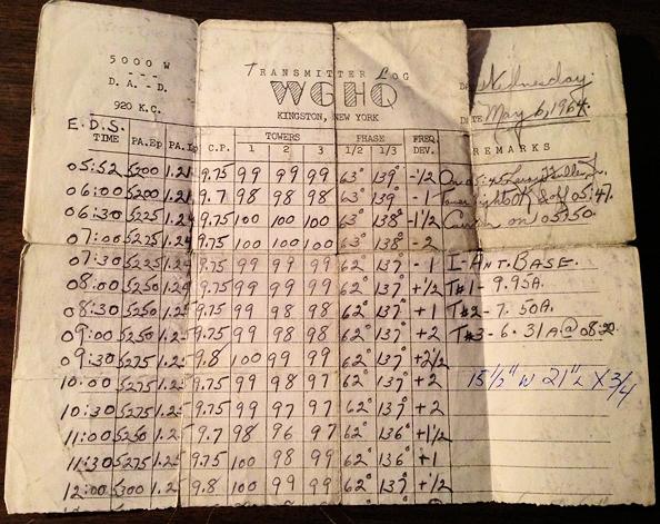 WGHQ transmitter log